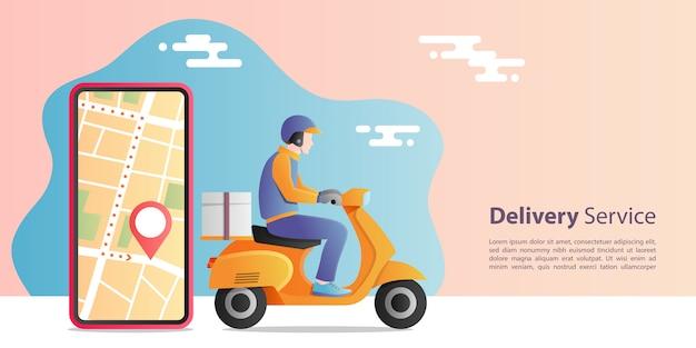 Концепция экспресс-доставки онлайн. доставка человек езда скутер мотоцикл для обслуживания с местоположением мобильного приложения. концепция электронной коммерции.