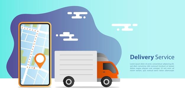 Концепция экспресс-доставки онлайн. доставка грузовых автомобилей для обслуживания с мобильным приложением местоположения. концепция электронной коммерции.