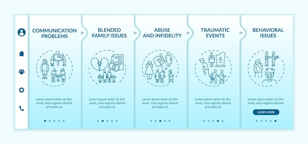 Online family therapy types onboarding app mobile template