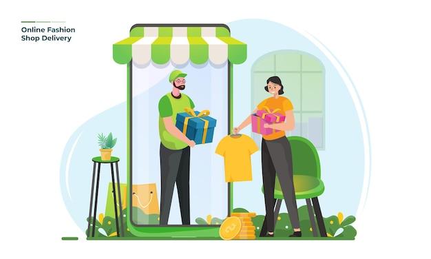 Иллюстрация доставки интернет-магазина модной одежды