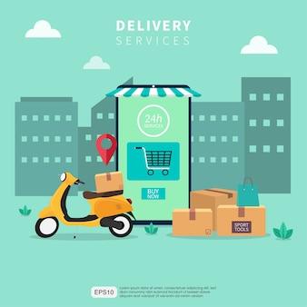 Концепция услуг быстрой доставки онлайн. иллюстрация курьера мобильного приложения желтым скутером.
