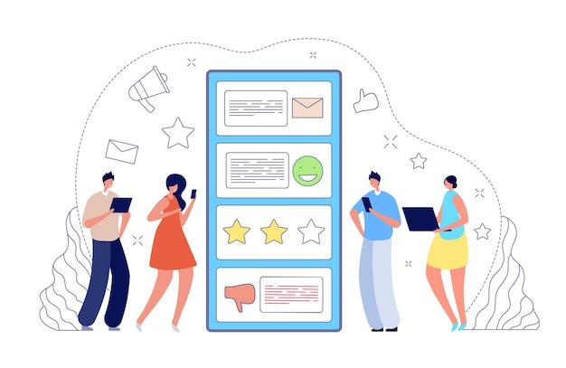 온라인 피드백. 인터넷 리뷰, 고객 설문조사 또는 팁 서비스. 좋은 나쁜 평가, 사람들은 모바일 앱 벡터 개념에서 평가를 남깁니다. 고객 일러스트레이션에서 온라인, 인터넷 평가 검토