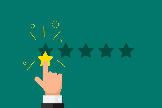 Online feedback reputation bad quality customer review concept. businessman hand finger pointing 1 one gold star rating opinion on green background. vector negative rank vote result illustration