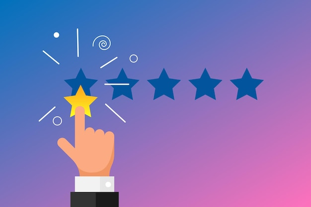 Online feedback reputation bad quality customer review concept flat style. businessman hand finger pointing 1 one gold star rating on gradient background. vector negative ranking vote illustration