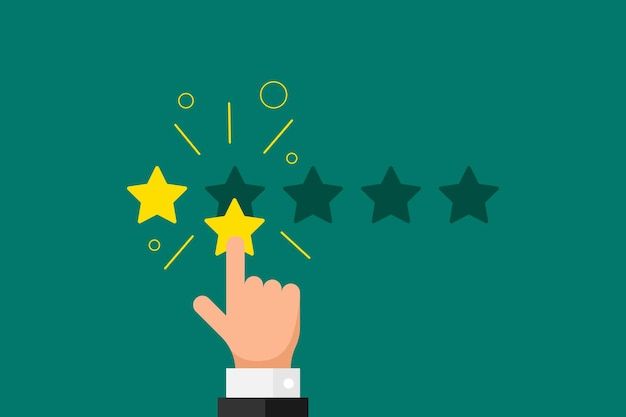 Online feedback reputation bad quality customer review concept flat style. businessman hand finger pointing 2 two gold star rating on green background. vector rank vote result eps illustration