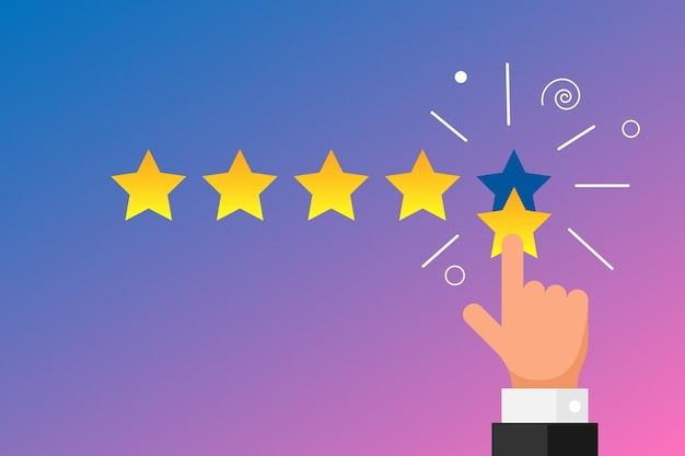 Online feedback reputation best quality customer review concept flat style. businessman hand finger pointing five gold star rating on gradient background. vector illustration