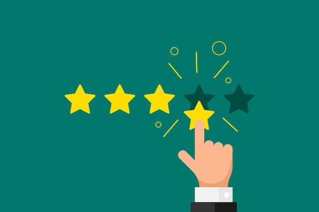 Online feedback reputation good quality customer review concept flat style. businessman hand finger pointing 4 four gold star rating on green background. vector rank result illustration