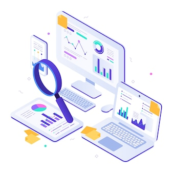 Online financial audit. isometric website metrics, statistical graphs dashboards and web seo research  illustration