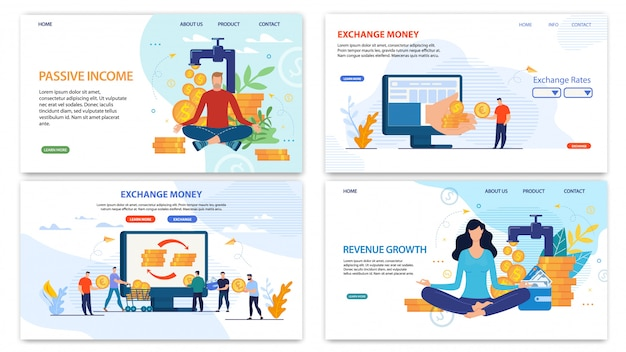 Online financial services landing page flat set