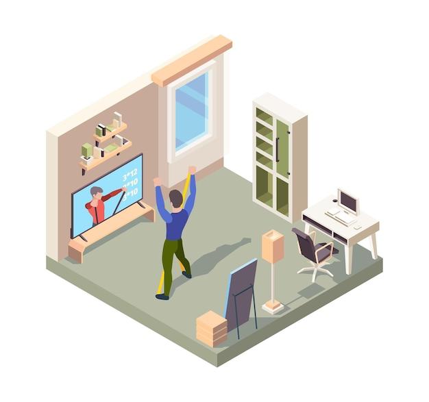 온라인 피트니스. 집 방에 혼자 서 있는 사람들은 스포츠 운동 훈련 벡터 아이소메트릭을 만드는 활동적인 포즈를 취합니다. 그림 피트니스 운동 운동, 스포츠 활동 온라인, 활동 훈련