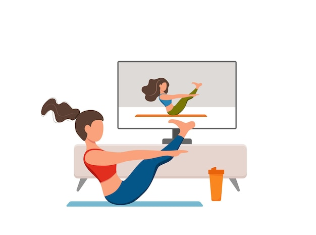 Интернет-фитнес-классы векторной йоги. оставайтесь дома девушка делает упражнения, глядя на экран плоской иллюстрации шаржа. концепция дизайна здорового и благополучного образа жизни с женщиной во внутреннем интерьере