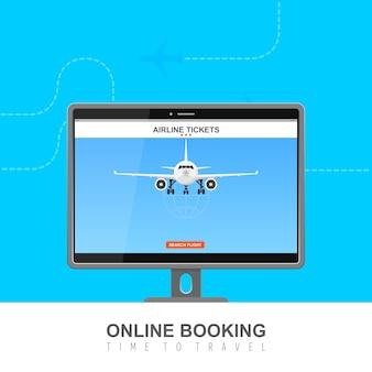 Online flight booking on screen  illustration