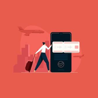 オンライン フライト予約 ツアーおよび旅行サービス 休暇支援 Premiumベクター