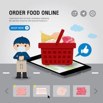 オンラインフードデリバリーサービスコンセプト漫画イラスト。モバイルまたはスマートフォンのオンライン食品注文インフォグラフィックのアプリを開きます。 covid-19(新型コロナウイルス感染症)(#文字数制限がない場合、初出時にかっこ書きを追加。市内の検疫。