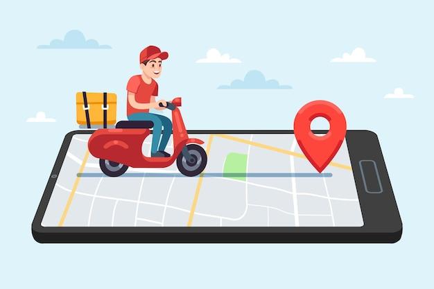 Служба доставки еды онлайн. мотоциклист-курьер на мопеде с коробкой на смартфоне с картой города на экране устройства, мужской персонаж едет к клиенту, доставка посылки плоский вектор молодой мультяшной концепции