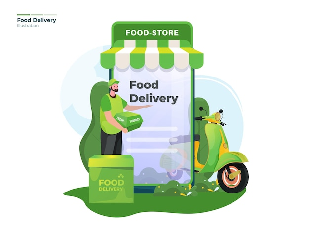 Иллюстрация доставки онлайн-заказа еды