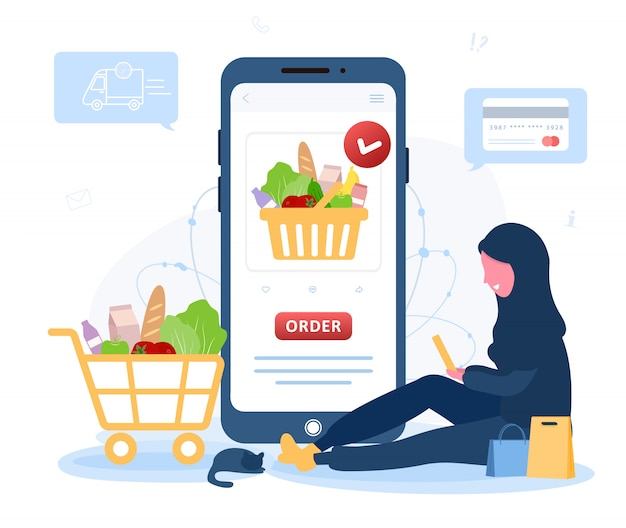 Online food order. grocery delivery. arab woman shop at an online store. the product catalog on the web browser page. shopping boxes. stay at home. quarantine or self-isolation. flat style.
