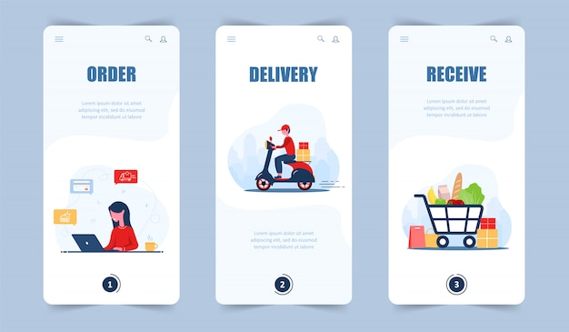 Online food order. grocery delivery. mobile app and landing page. a woman shop at an online store. fast courier on the scooter. shopping basket. modern  illustration in  cartoon style.