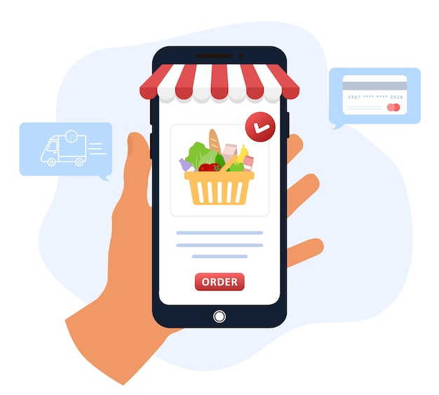 Online food order. grocery delivery. the product catalog on the web browser page. shopping boxes. stay at home. quarantine or self-isolation. modern illustration in flat style.