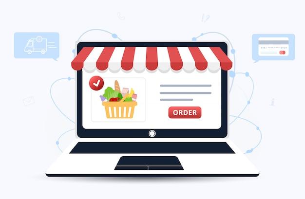 Заказ еды онлайн. доставка продуктов. каталог продукции на странице веб-браузера. коробки для покупок. оставайся дома. карантин или самоизоляция. современная иллюстрация в плоском стиле.