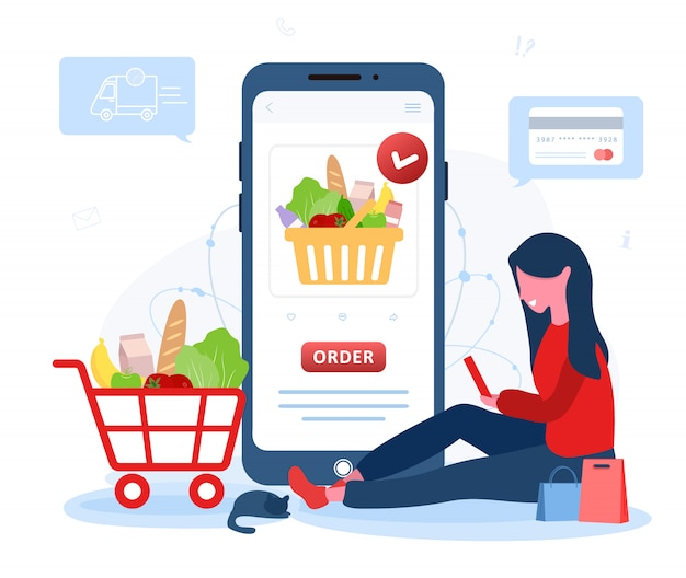 Online food order. grocery delivery. a woman shop at an online store. the product catalog on the web browser page. shopping boxes. stay at home. quarantine or self-isolation. flat style.