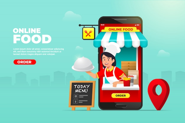 Online food order service banner concept with waiter carry food cloche on screen display.