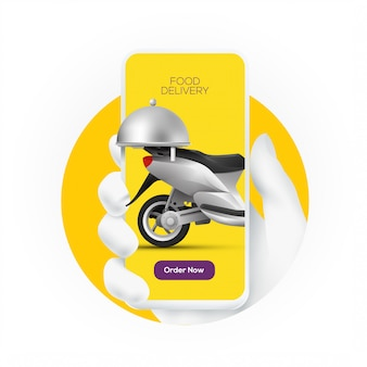 Online food order service banner concept with white hand silhouette holding smartphone with delivery scooter on screen display. .
