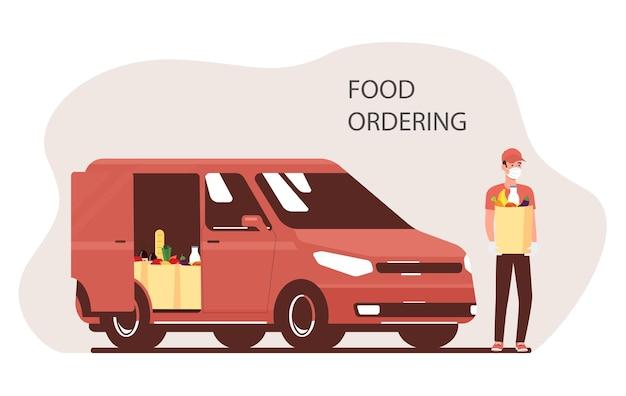 オンライン食品の注文と配達。宅配便と貨物バン。ベクトルイラスト。