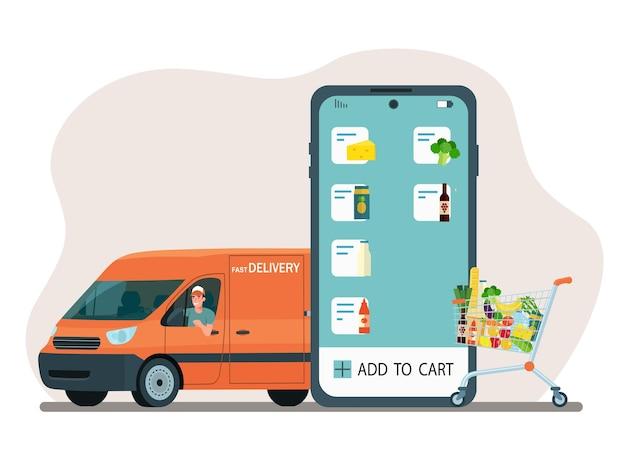 Заказ и доставка еды онлайн. смартфон, приложение, тележка для продуктов и грузовой фургон.