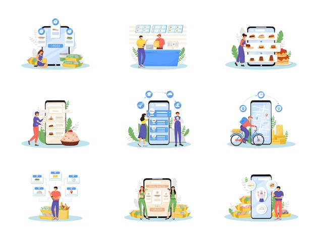 Online food ordering and delivery flat concept set.