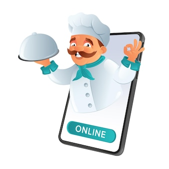 Online food ordering and delivery. mustachoed chef of the restaurant looking out of phone, holding the dish and showing the ok sign.