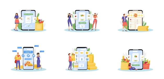 Набор онлайн-заказа еды плоских концептуальных иллюстраций. интернет-магазины, домашняя кухня, метафоры службы доставки еды. товары покупателей, курьеров фастфуда и поваров 2d героев мультфильмов