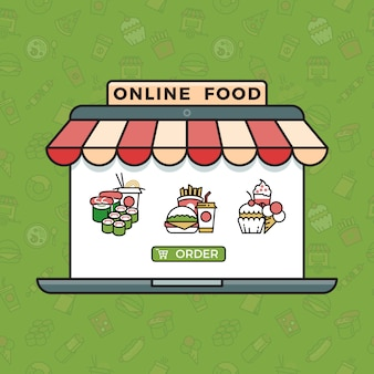 Online food ordering grocery shopping concept in trendy linear style