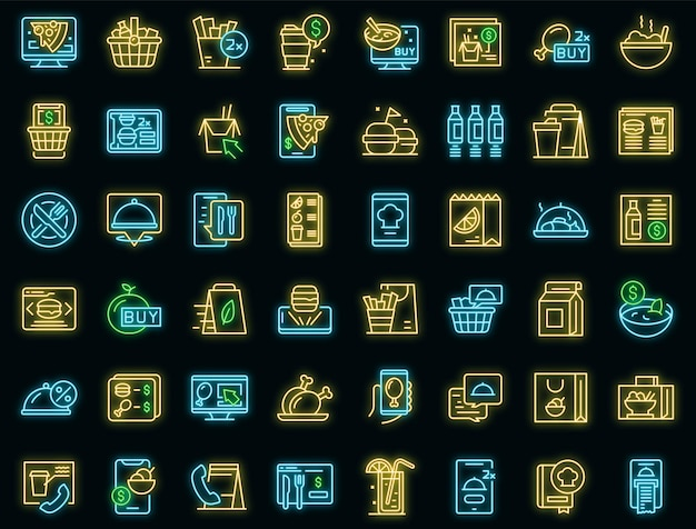 Online food ordering icons set vector neon