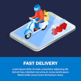 Online food ordering isometric banner template