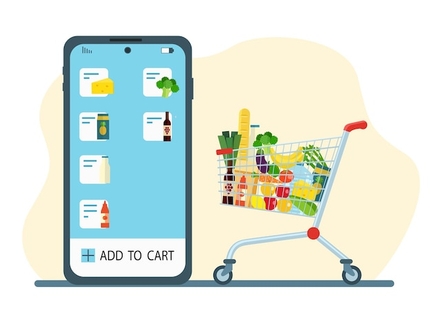 Online food ordering. smartphone, app and grocery cart.