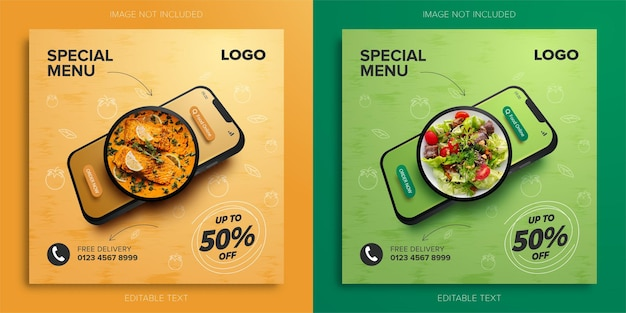 Продвижение специального меню еды онлайн на мобильном телефоне для шаблона баннера в социальных сетях