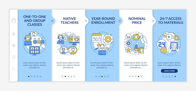 Online foreign language courses onboarding  template. one-to-one classes. year-round enrollment. responsive mobile website with icons. webpage walkthrough step screens. rgb color concept