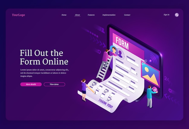 Online form fill out isometric landing page