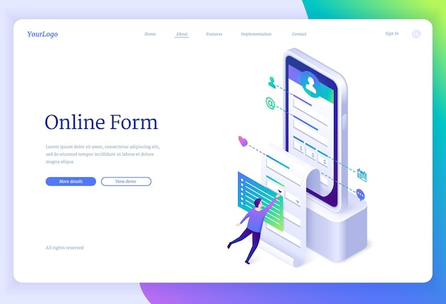 Online form landing page