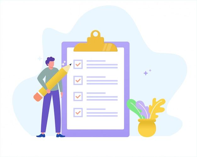 Online form survey illustration concept, young man holding pencil answer survey form