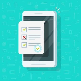 Онлайн анкета на мобильный телефон иллюстрации плоский мультфильм