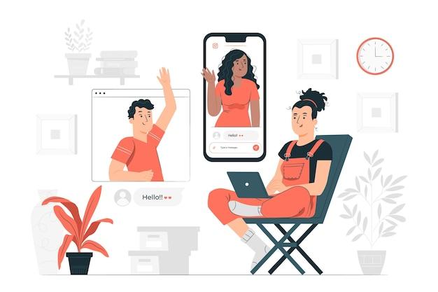 Онлайн друзья концепция иллюстрации