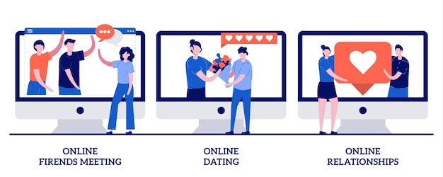 Online friends meeting, online dating and online relationship illustration with tiny people
