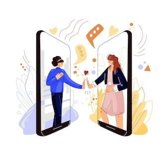 オンラインの友達はフラットコンセプトをサポートします。リモート仮想ビデオ会議、電話で、2人の女性キャラクターが手をつないで、共感、サポート、愛を共有しています。