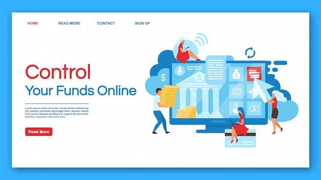 Online funds control landing page vector template. banking service website with flat illustrations. website design