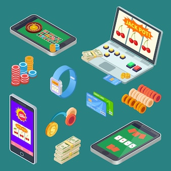Online gambling, casino app isometric vector elements
