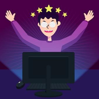 オンラインゲーム中毒と遊ぶ少年