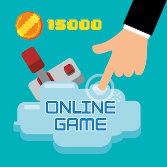 Online game hand touch joystick coin score
