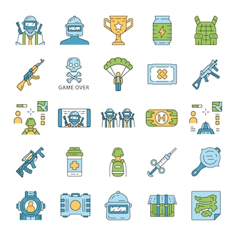 Online game inventory icons set